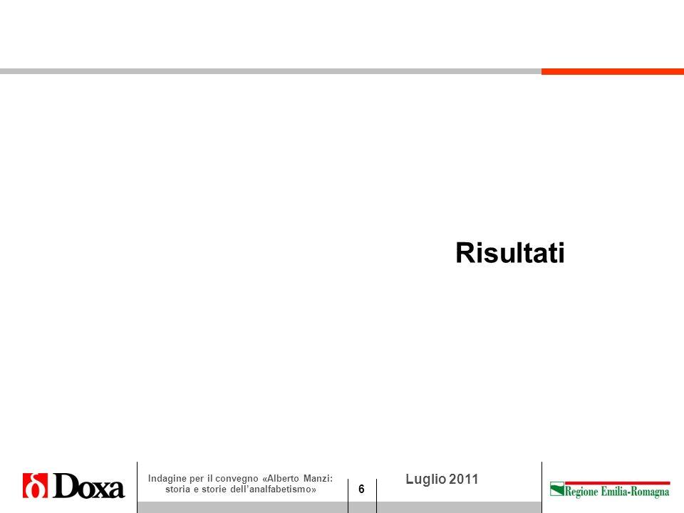 6 Luglio 2011 Indagine per il convegno «Alberto Manzi: storia e storie dellanalfabetismo» Risultati