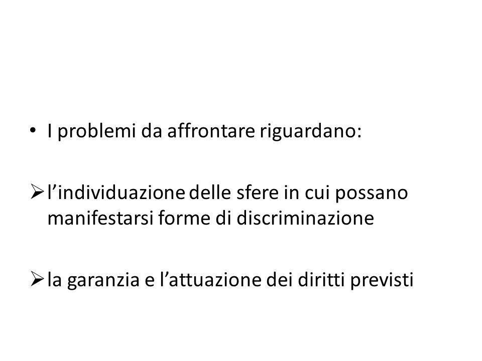 I problemi da affrontare riguardano: lindividuazione delle sfere in cui possano manifestarsi forme di discriminazione la garanzia e lattuazione dei di