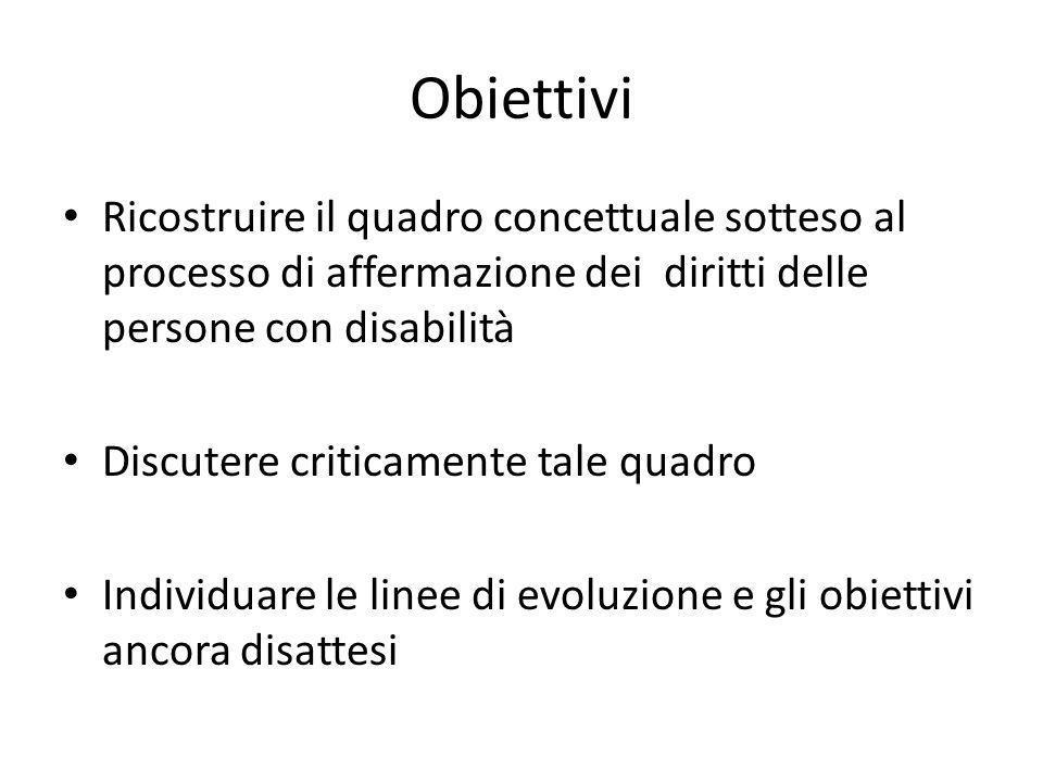 Obiettivi Ricostruire il quadro concettuale sotteso al processo di affermazione dei diritti delle persone con disabilità Discutere criticamente tale q