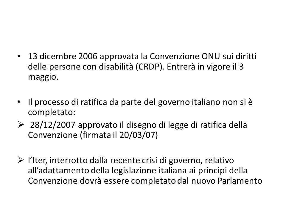 13 dicembre 2006 approvata la Convenzione ONU sui diritti delle persone con disabilità (CRDP). Entrerà in vigore il 3 maggio. Il processo di ratifica