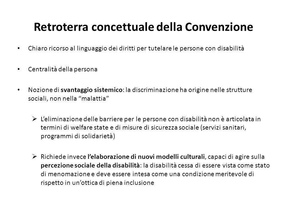 Retroterra concettuale della Convenzione Chiaro ricorso al linguaggio dei diritti per tutelare le persone con disabilità Centralità della persona Nozi
