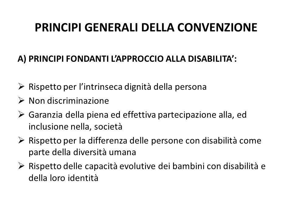 PRINCIPI GENERALI DELLA CONVENZIONE A)PRINCIPI FONDANTI LAPPROCCIO ALLA DISABILITA: Rispetto per lintrinseca dignità della persona Non discriminazione