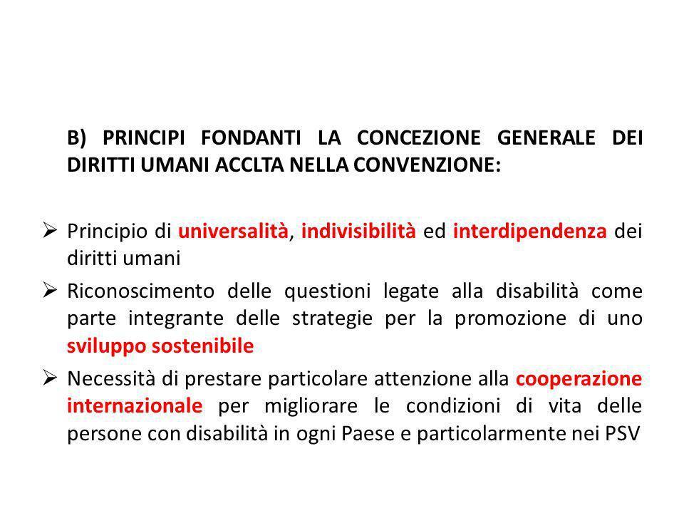 B) PRINCIPI FONDANTI LA CONCEZIONE GENERALE DEI DIRITTI UMANI ACCLTA NELLA CONVENZIONE: Principio di universalità, indivisibilità ed interdipendenza d