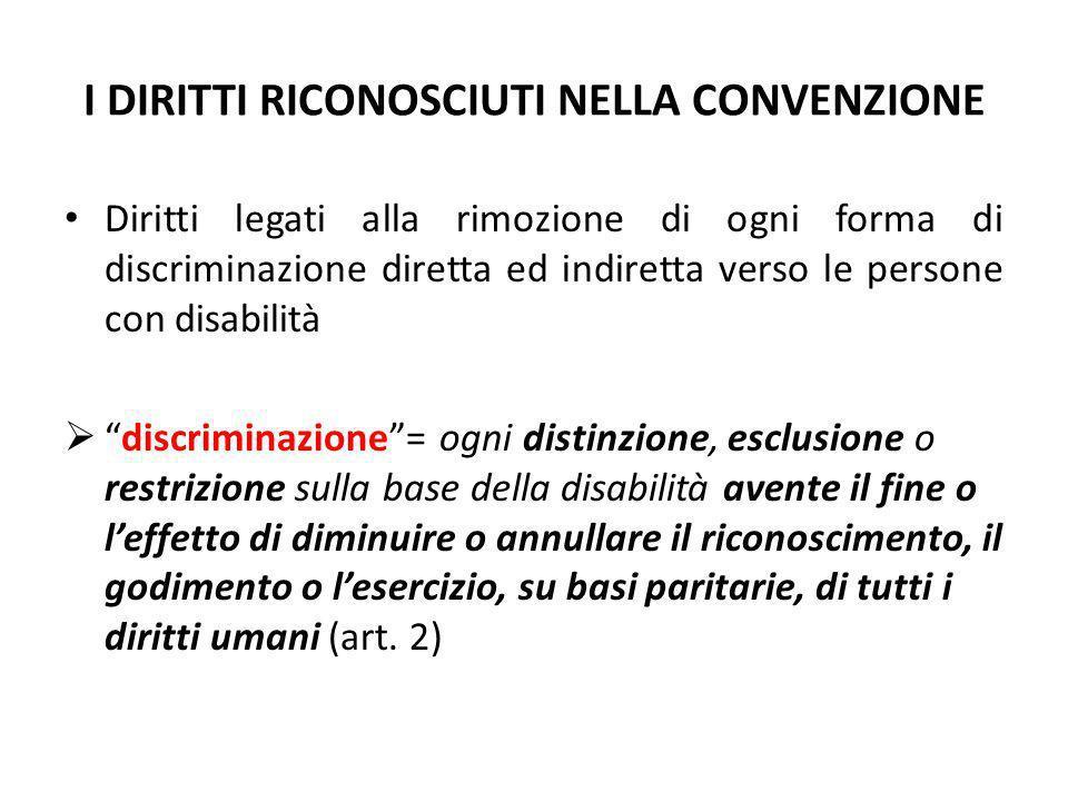 I DIRITTI RICONOSCIUTI NELLA CONVENZIONE Diritti legati alla rimozione di ogni forma di discriminazione diretta ed indiretta verso le persone con disa
