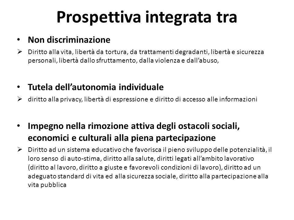 Prospettiva integrata tra Non discriminazione Diritto alla vita, libertà da tortura, da trattamenti degradanti, libertà e sicurezza personali, libertà