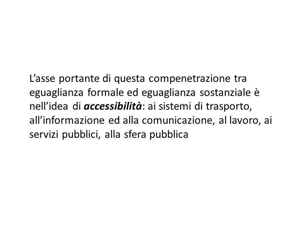 Lasse portante di questa compenetrazione tra eguaglianza formale ed eguaglianza sostanziale è nellidea di accessibilità: ai sistemi di trasporto, alli