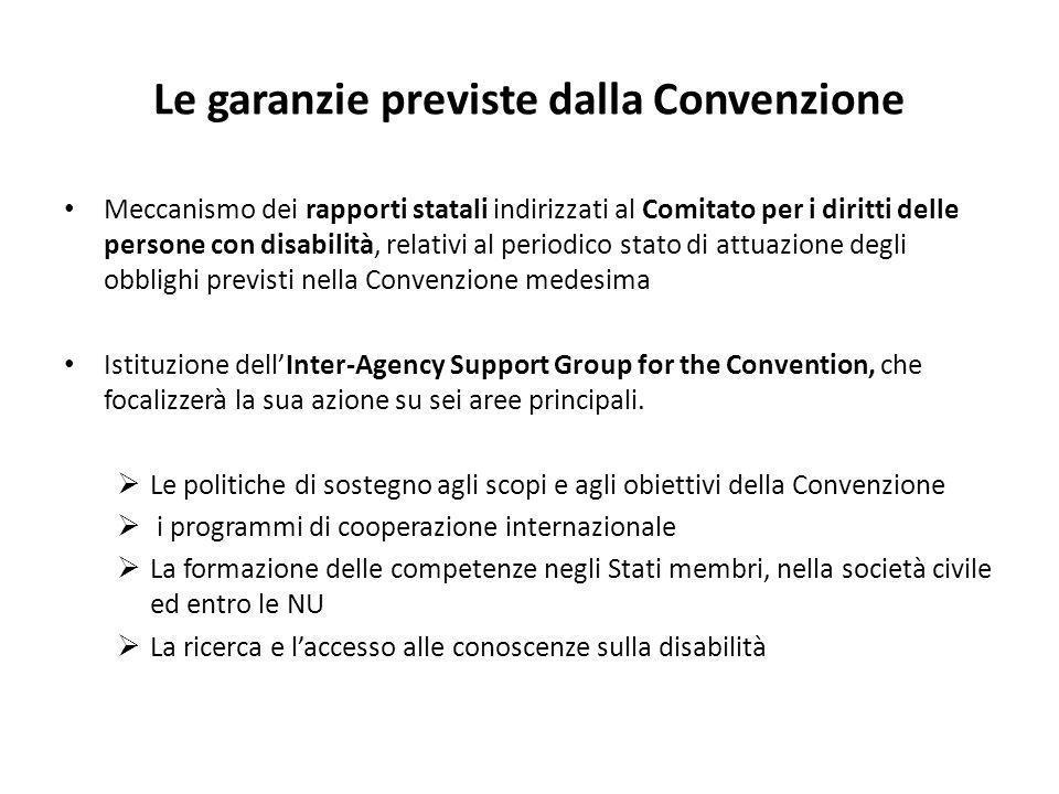 Le garanzie previste dalla Convenzione Meccanismo dei rapporti statali indirizzati al Comitato per i diritti delle persone con disabilità, relativi al