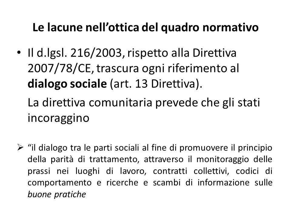 Le lacune nellottica del quadro normativo Il d.lgsl. 216/2003, rispetto alla Direttiva 2007/78/CE, trascura ogni riferimento al dialogo sociale (art.