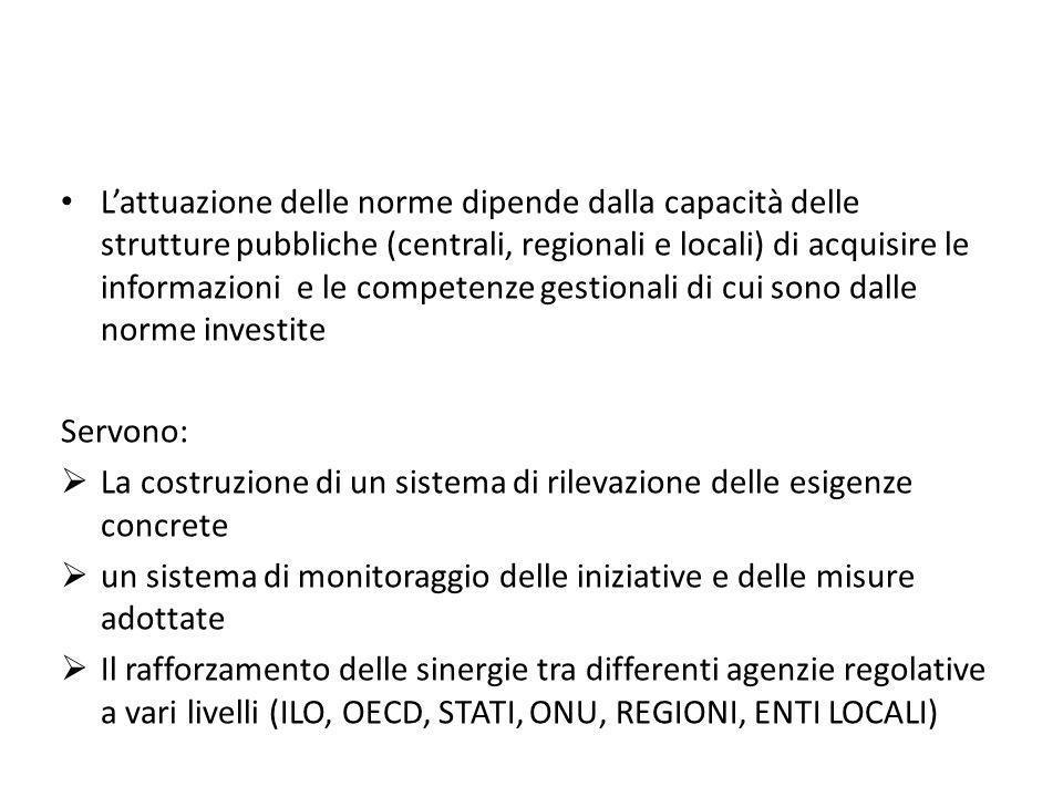 Lattuazione delle norme dipende dalla capacità delle strutture pubbliche (centrali, regionali e locali) di acquisire le informazioni e le competenze g