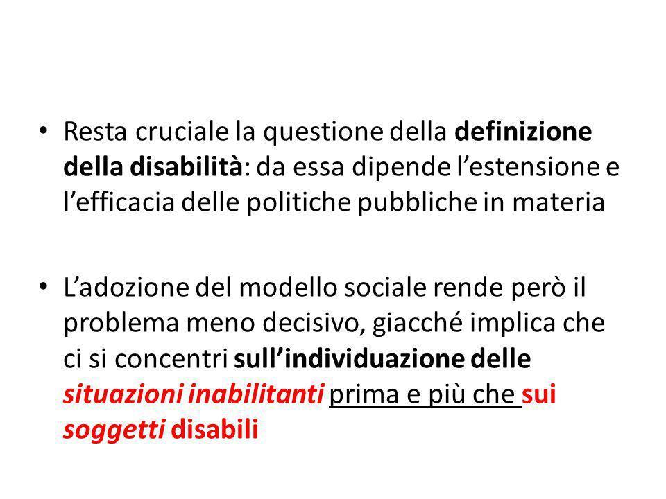 Resta cruciale la questione della definizione della disabilità: da essa dipende lestensione e lefficacia delle politiche pubbliche in materia Ladozion