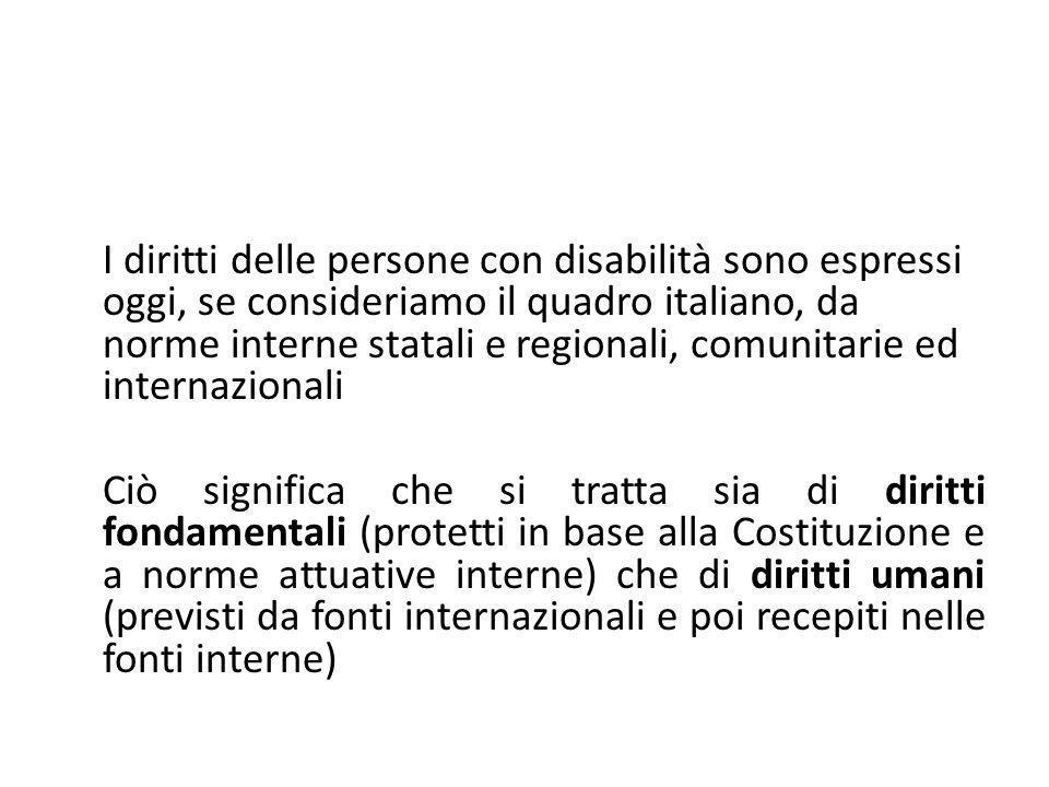 I diritti delle persone con disabilità sono espressi oggi, se consideriamo il quadro italiano, da norme interne statali e regionali, comunitarie ed in