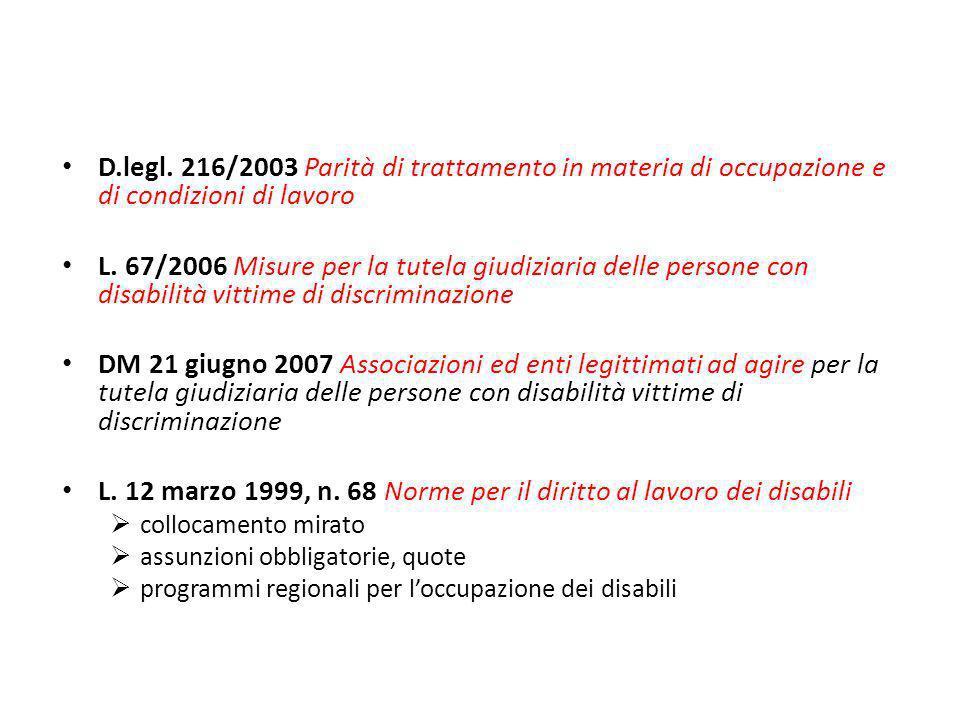 D.legl. 216/2003 Parità di trattamento in materia di occupazione e di condizioni di lavoro L. 67/2006 Misure per la tutela giudiziaria delle persone c