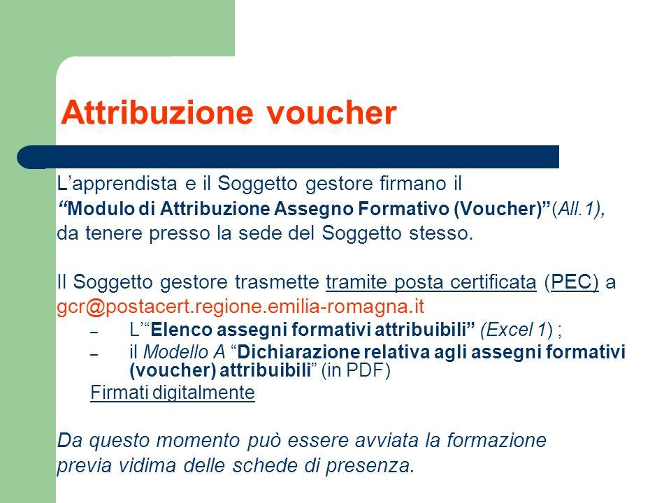 Attribuzione voucher Lapprendista e il Soggetto gestore firmano il Modulo di Attribuzione Assegno Formativo (Voucher)(All.1 ), da tenere presso la sed