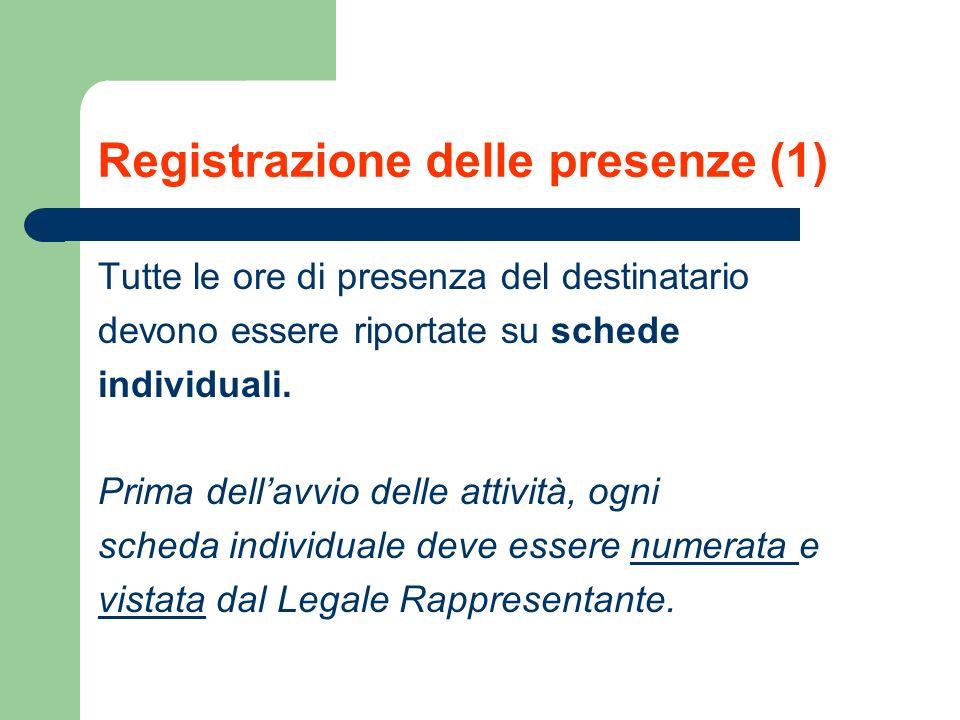 Registrazione delle presenze (1) Tutte le ore di presenza del destinatario devono essere riportate su schede individuali. Prima dellavvio delle attivi