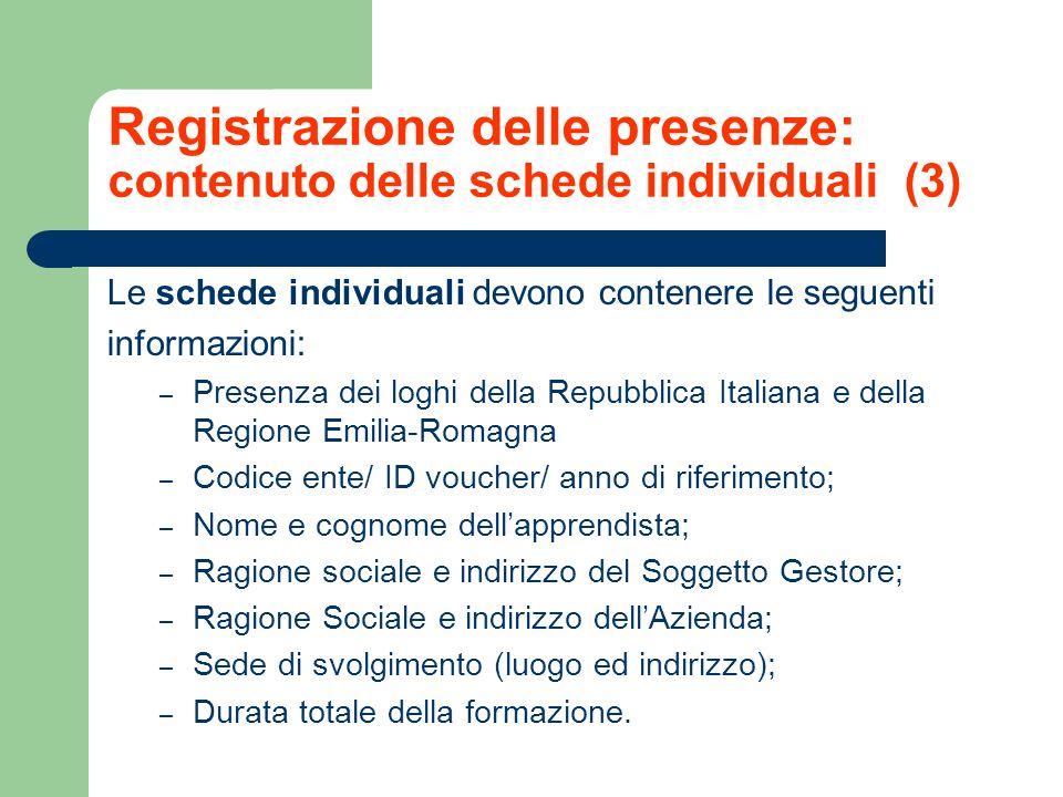 Registrazione delle presenze: contenuto delle schede individuali (3) Le schede individuali devono contenere le seguenti informazioni: – Presenza dei l