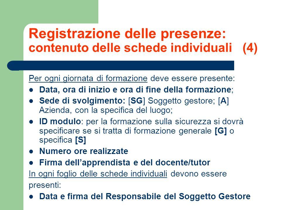 Registrazione delle presenze: contenuto delle schede individuali (4) Per ogni giornata di formazione deve essere presente: Data, ora di inizio e ora d
