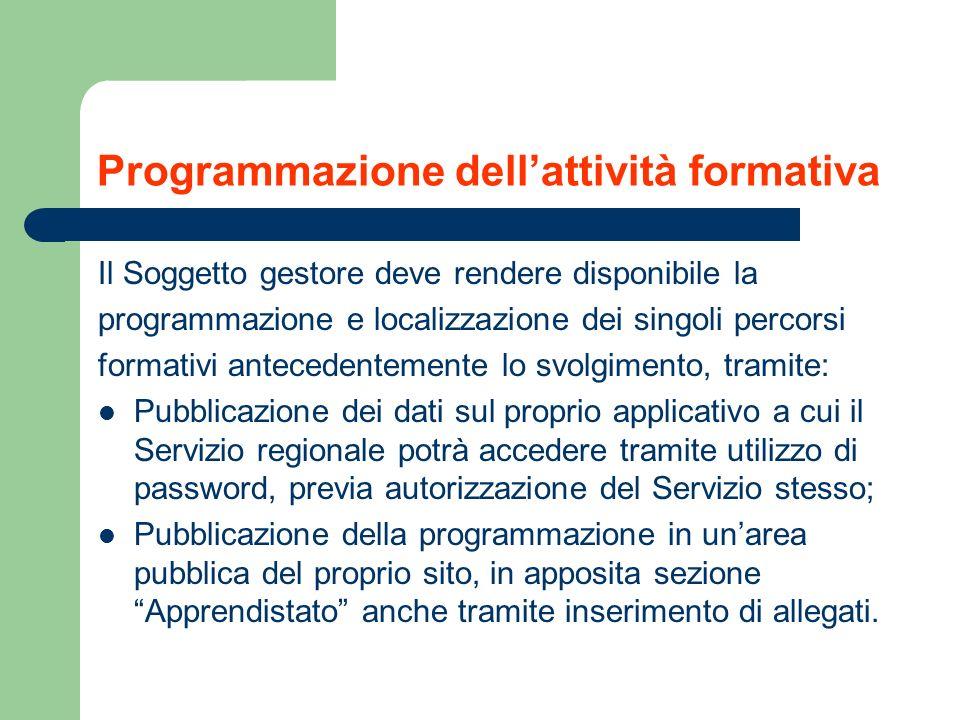 Programmazione dellattività formativa Il Soggetto gestore deve rendere disponibile la programmazione e localizzazione dei singoli percorsi formativi a