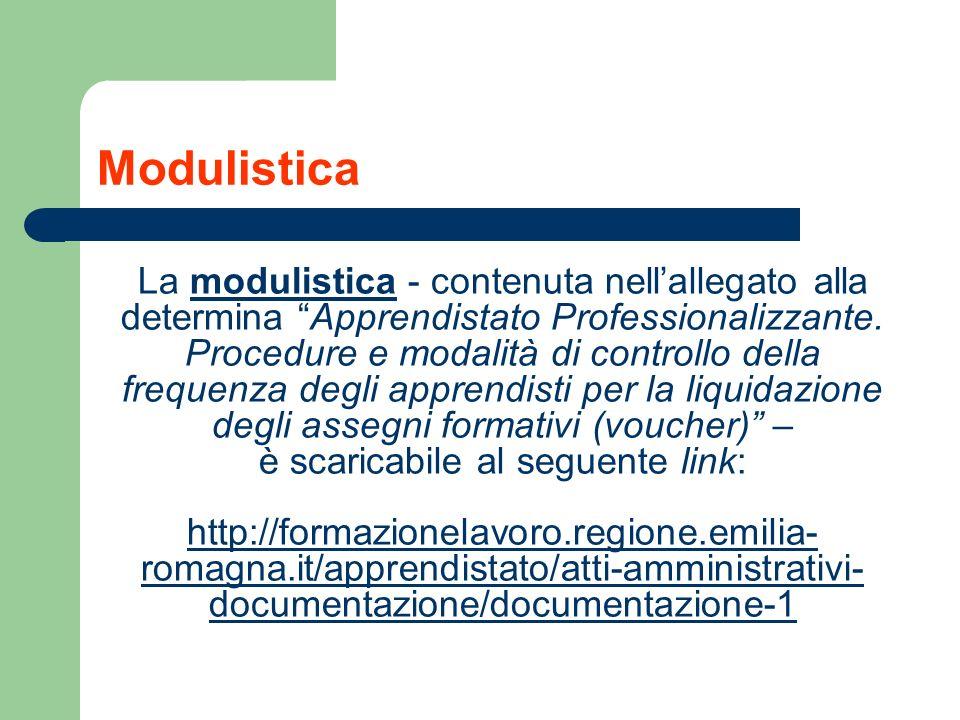 Modulistica La modulistica - contenuta nellallegato alla determina Apprendistato Professionalizzante. Procedure e modalità di controllo della frequenz