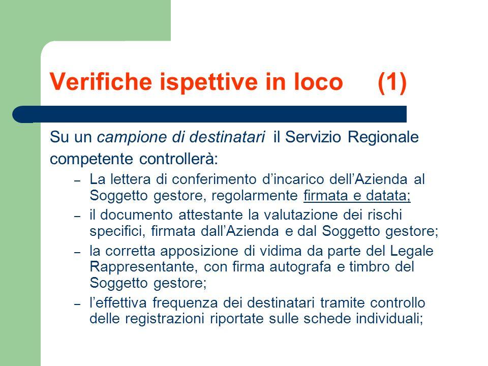 Verifiche ispettive in loco (1) Su un campione di destinatari il Servizio Regionale competente controllerà: – La lettera di conferimento dincarico del