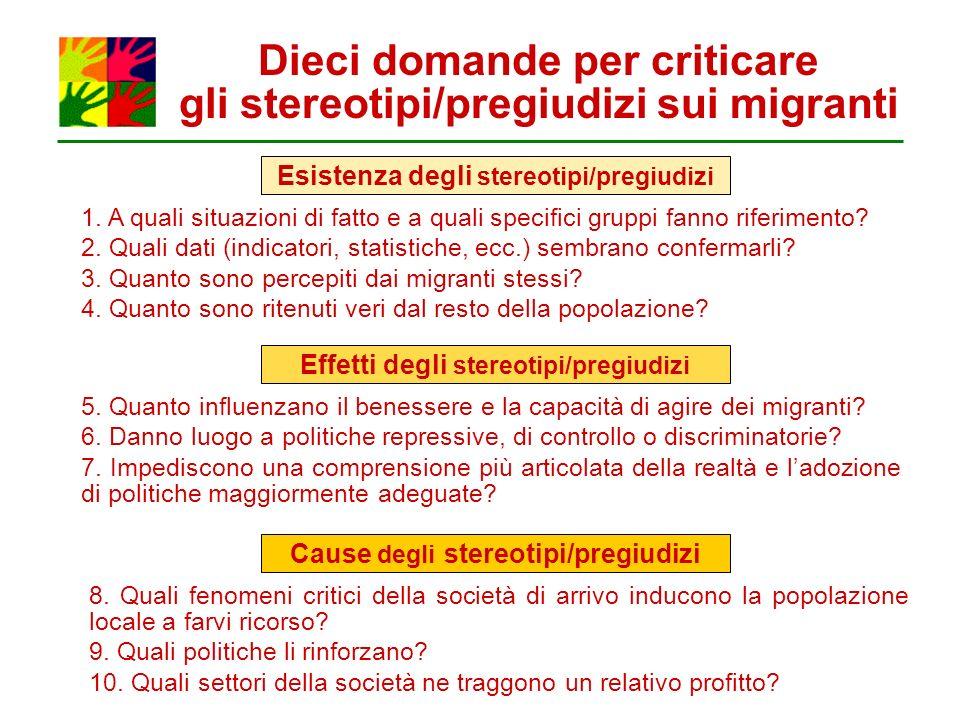 Dieci domande per criticare gli stereotipi/pregiudizi sui migranti Esistenza degli stereotipi/pregiudizi Effetti degli stereotipi/pregiudizi Cause deg