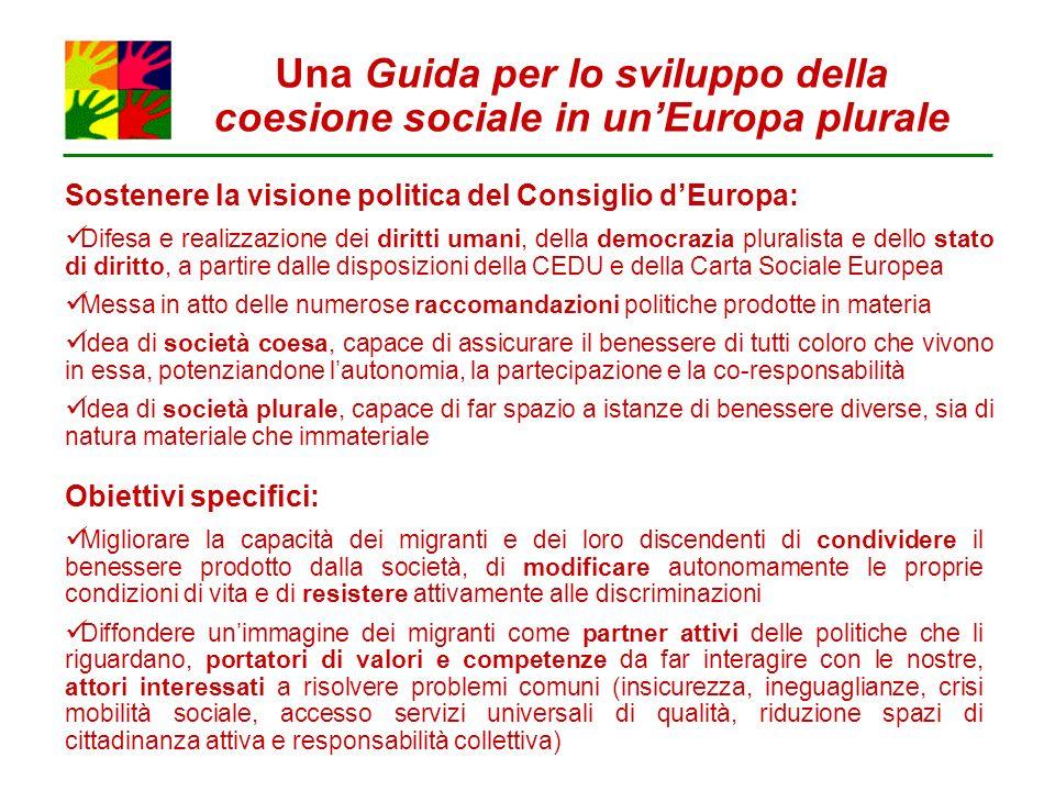 Una Guida per lo sviluppo della coesione sociale in unEuropa plurale Sostenere la visione politica del Consiglio dEuropa: Difesa e realizzazione dei d
