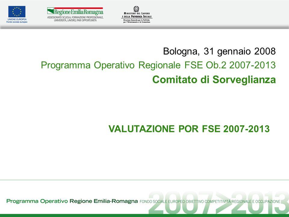 VALUTAZIONE POR FSE 2007-2013 Bologna, 31 gennaio 2008 Programma Operativo Regionale FSE Ob.2 2007-2013 Comitato di Sorveglianza