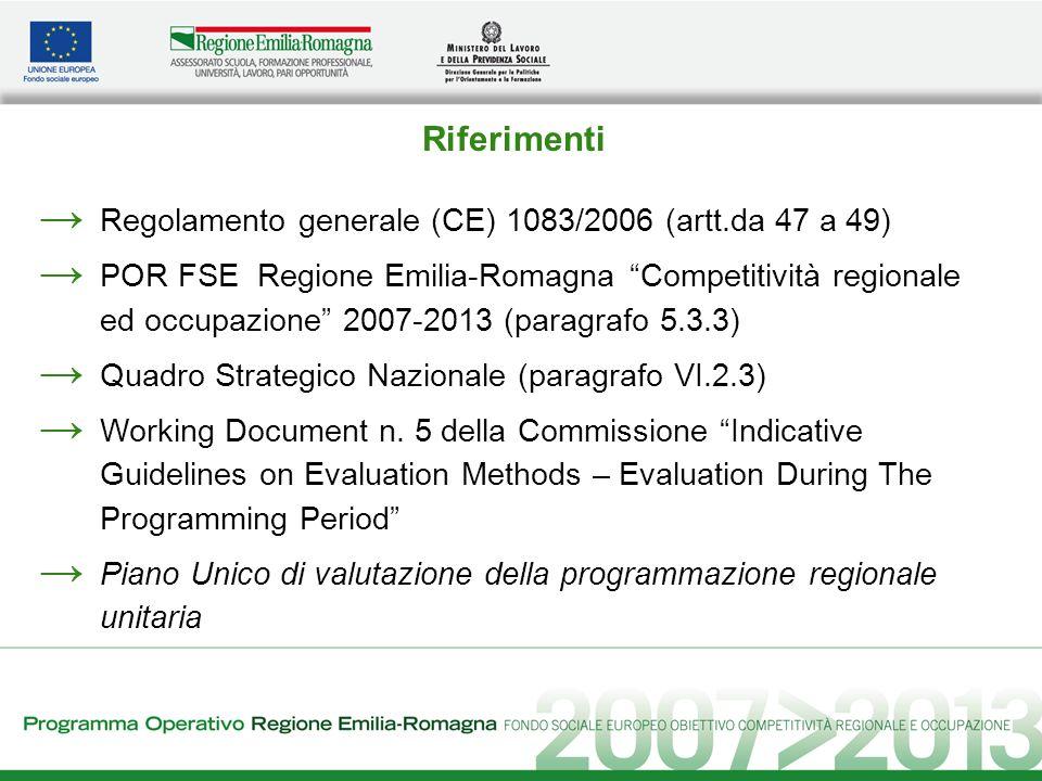 Valutazione: primi elementi di pianificazione Individuazione di un Responsabile della valutazione allinterno dellAdG; Attivazione di un Gruppo di pilotaggio (steering group); Utilizzo di risorse umane sia interne sia esterne allAmministrazione per la redazione dei Rapporti periodici di valutazione; Integrazione con il Piano Unico di valutazione regionale; Coordinamento con il sistema di monitoraggio; Stanziamento di risorse pari ad almeno il 5% dellAsse VI Assistenza Tecnica.