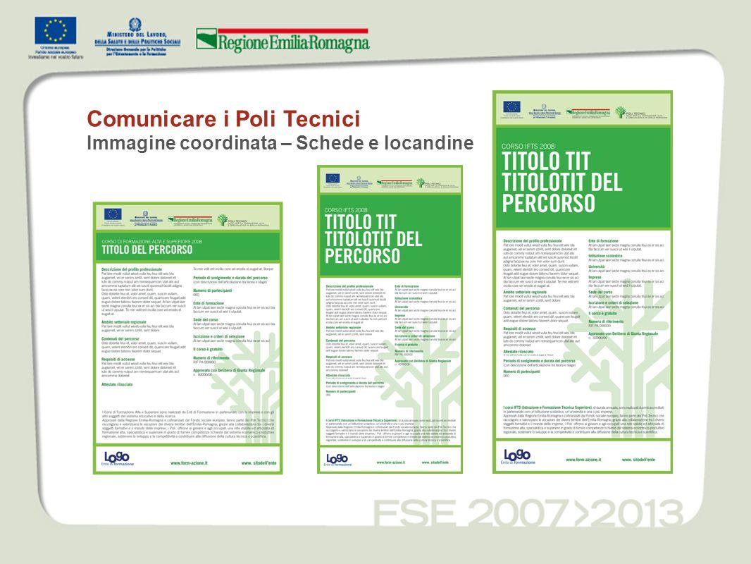 Comunicare i Poli Tecnici Immagine coordinata – Schede e locandine
