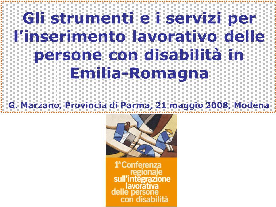 Gli strumenti e i servizi per linserimento lavorativo delle persone con disabilità in Emilia-Romagna G. Marzano, Provincia di Parma, 21 maggio 2008, M