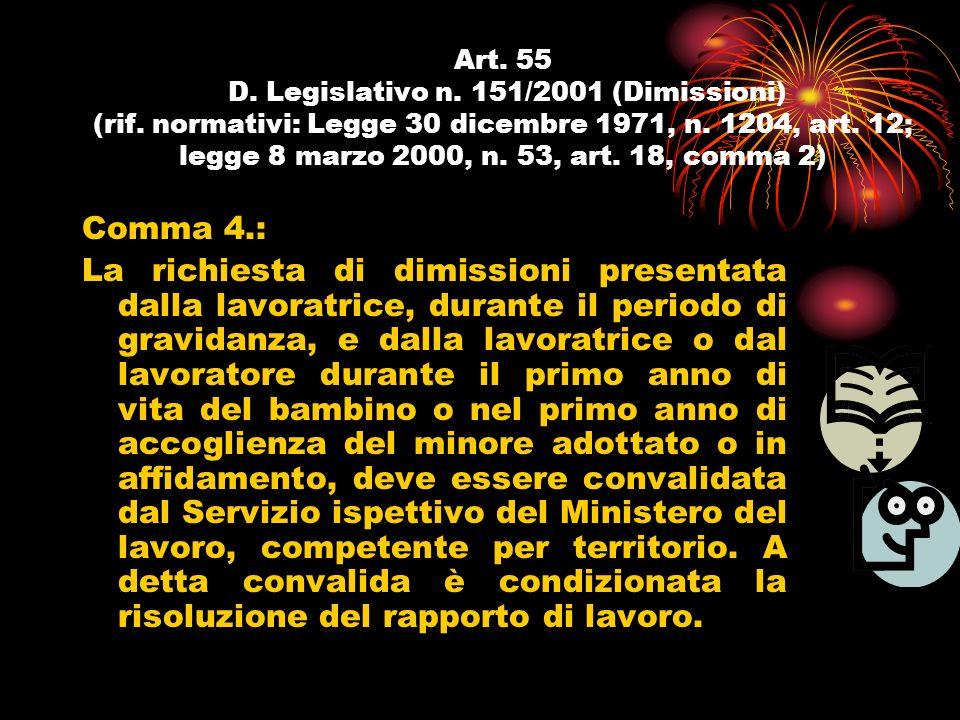 Art. 55 D. Legislativo n. 151/2001 (Dimissioni) (rif. normativi: Legge 30 dicembre 1971, n. 1204, art. 12; legge 8 marzo 2000, n. 53, art. 18, comma 2