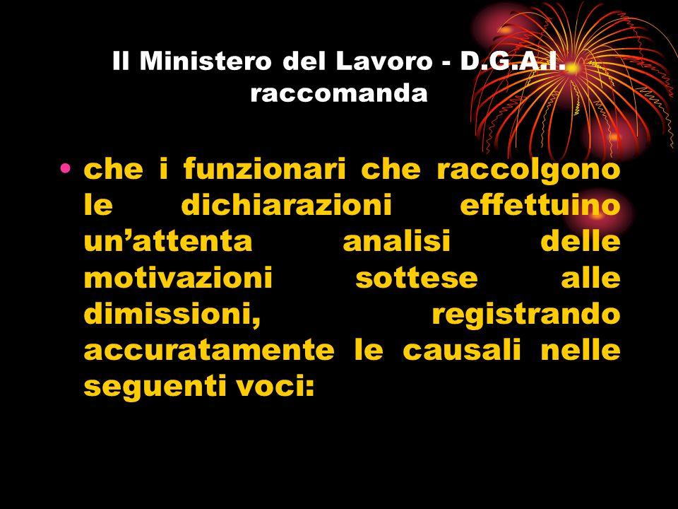 Il Ministero del Lavoro - D.G.A.I.