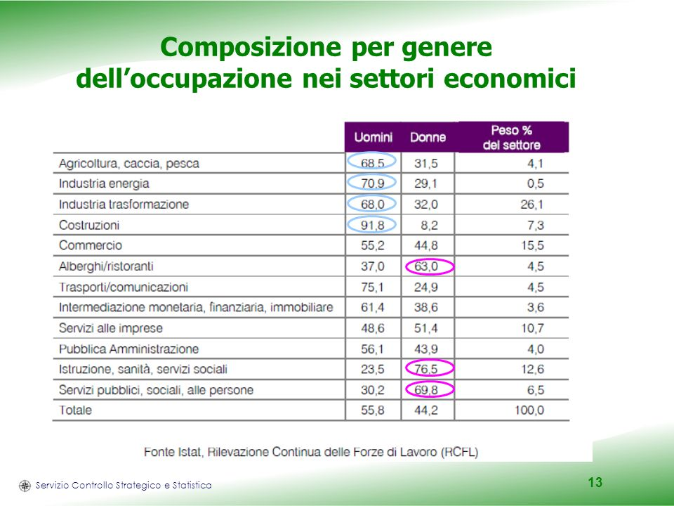 Servizio Controllo Strategico e Statistica 13 Composizione per genere delloccupazione nei settori economici