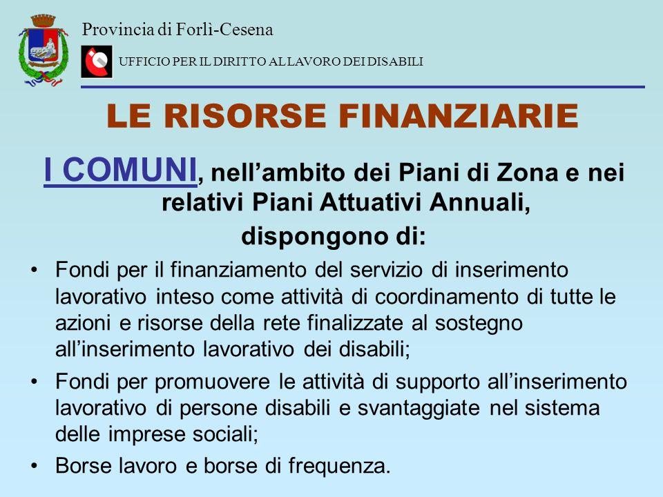 Provincia di Forlì-Cesena UFFICIO PER IL DIRITTO AL LAVORO DEI DISABILI LE RISORSE FINANZIARIE I COMUNI, nellambito dei Piani di Zona e nei relativi P
