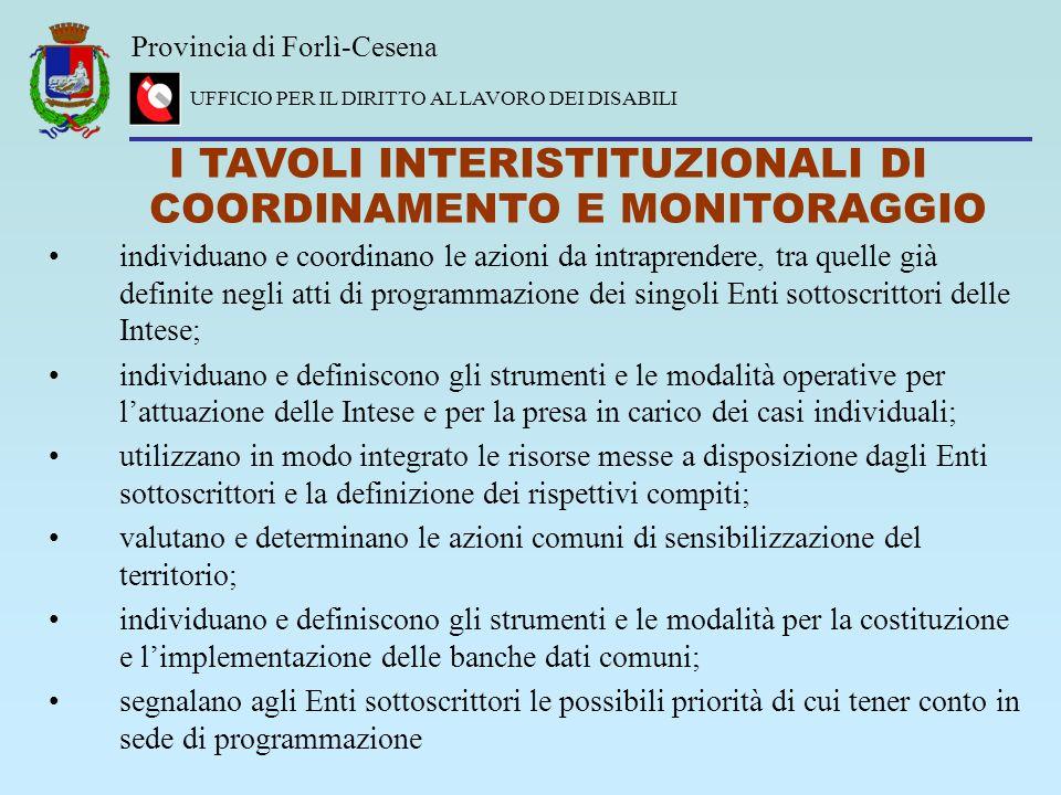 Provincia di Forlì-Cesena UFFICIO PER IL DIRITTO AL LAVORO DEI DISABILI I TAVOLI INTERISTITUZIONALI DI COORDINAMENTO E MONITORAGGIO individuano e coor