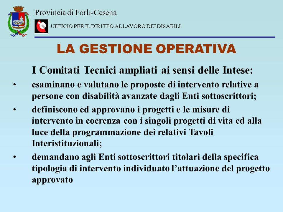 Provincia di Forlì-Cesena UFFICIO PER IL DIRITTO AL LAVORO DEI DISABILI LA GESTIONE OPERATIVA I Comitati Tecnici ampliati ai sensi delle Intese: esami