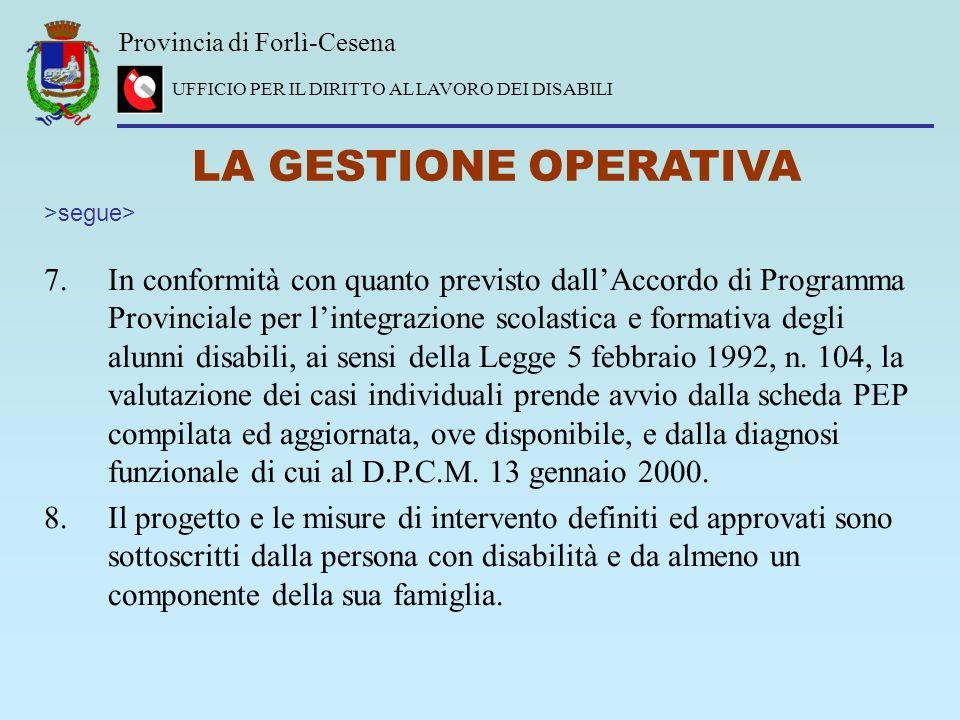 Provincia di Forlì-Cesena UFFICIO PER IL DIRITTO AL LAVORO DEI DISABILI LA GESTIONE OPERATIVA 7.In conformità con quanto previsto dallAccordo di Progr