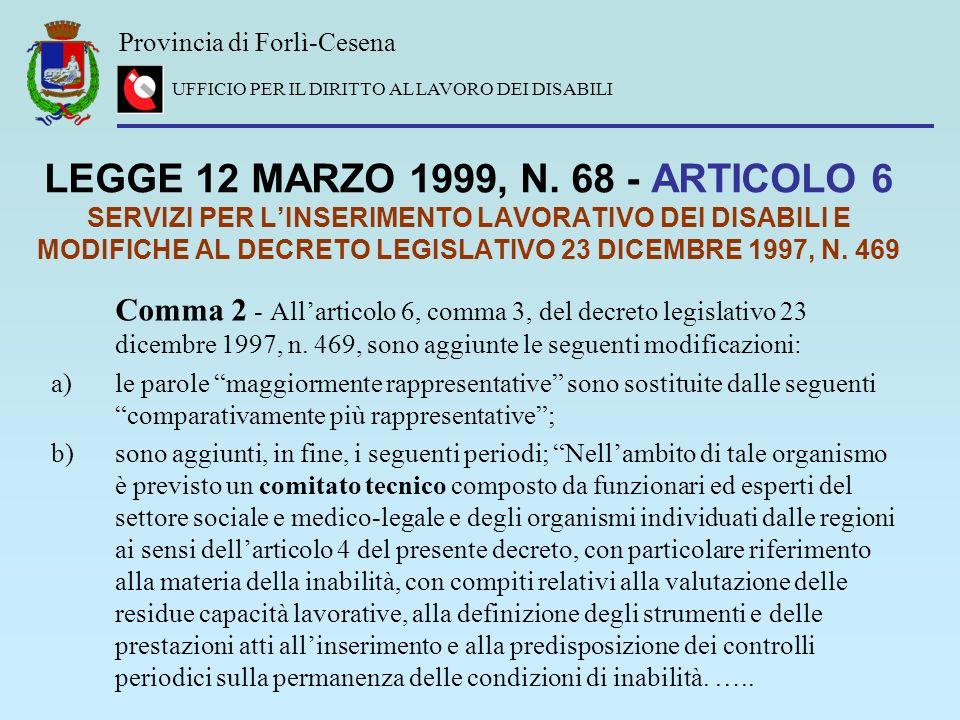 Provincia di Forlì-Cesena UFFICIO PER IL DIRITTO AL LAVORO DEI DISABILI LEGGE 12 MARZO 1999, N. 68 - ARTICOLO 6 SERVIZI PER LINSERIMENTO LAVORATIVO DE