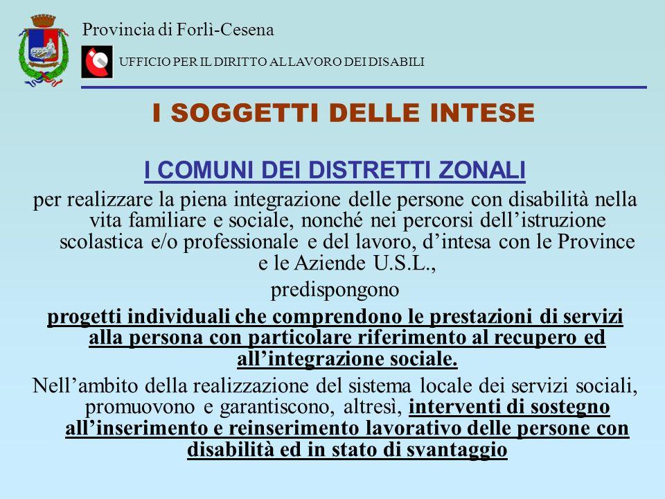 Provincia di Forlì-Cesena UFFICIO PER IL DIRITTO AL LAVORO DEI DISABILI I SOGGETTI DELLE INTESE I COMUNI DEI DISTRETTI ZONALI per realizzare la piena