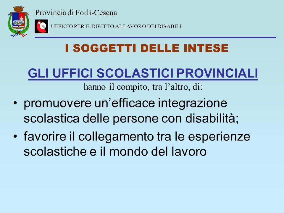 Provincia di Forlì-Cesena UFFICIO PER IL DIRITTO AL LAVORO DEI DISABILI I SOGGETTI DELLE INTESE GLI UFFICI SCOLASTICI PROVINCIALI hanno il compito, tr