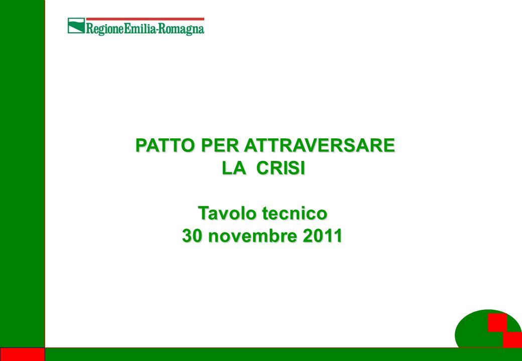 1 PATTO PER ATTRAVERSARE LA CRISI PATTO PER ATTRAVERSARE LA CRISI Tavolo tecnico 30 novembre 2011