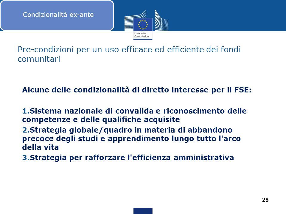 Pre-condizioni per un uso efficace ed efficiente dei fondi comunitari Alcune delle condizionalità di diretto interesse per il FSE: 1.Sistema nazionale