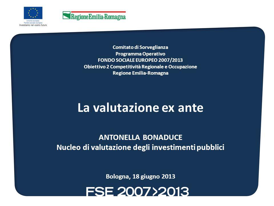 Comitato di Sorveglianza Programma Operativo FONDO SOCIALE EUROPEO 2007/2013 Obiettivo 2 Competitività Regionale e Occupazione Regione Emilia-Romagna La valutazione ex ante ANTONELLA BONADUCE Nucleo di valutazione degli investimenti pubblici Bologna, 18 giugno 2013