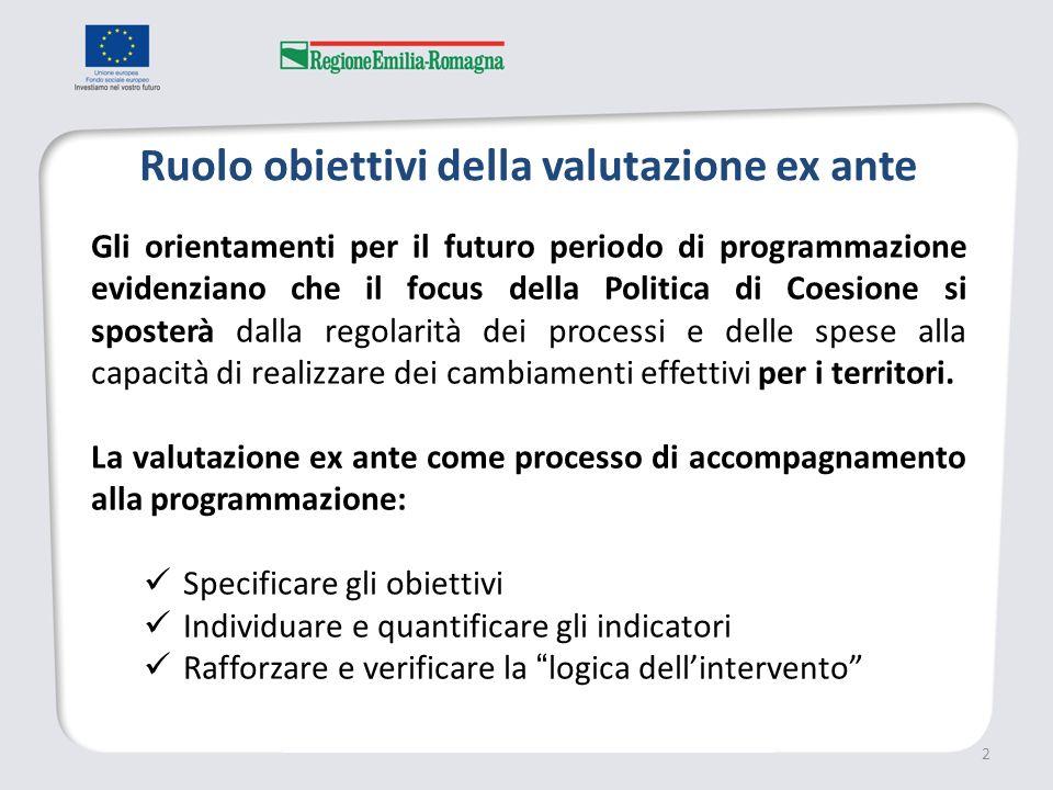 Ruolo obiettivi della valutazione ex ante 2 Gli orientamenti per il futuro periodo di programmazione evidenziano che il focus della Politica di Coesione si sposterà dalla regolarità dei processi e delle spese alla capacità di realizzare dei cambiamenti effettivi per i territori.
