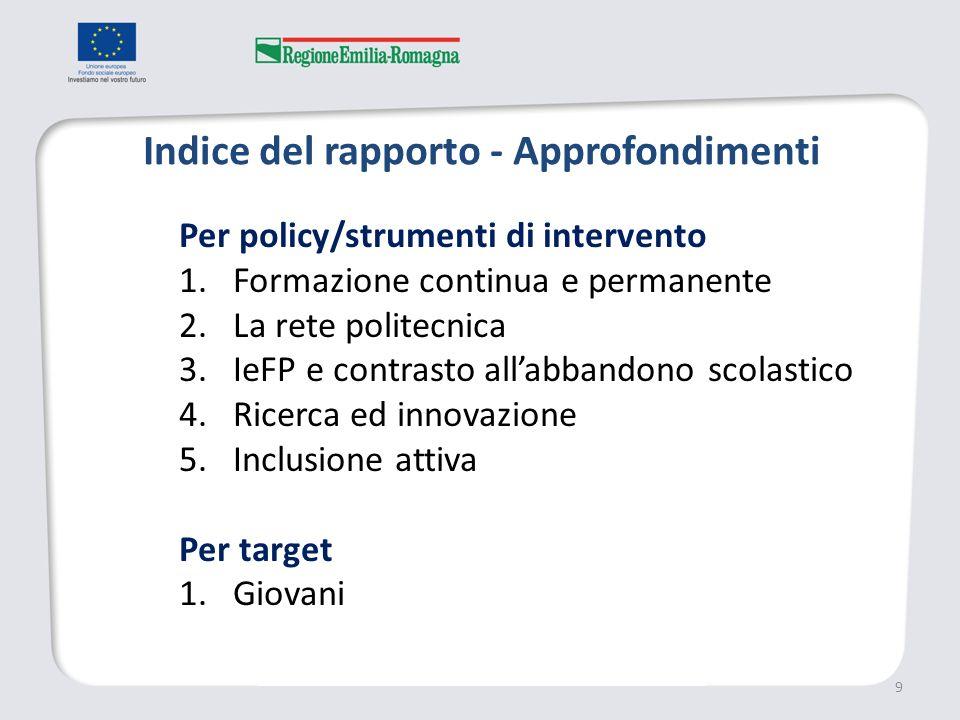 Indice del rapporto - Approfondimenti 9 Per policy/strumenti di intervento 1.Formazione continua e permanente 2.La rete politecnica 3.IeFP e contrasto allabbandono scolastico 4.Ricerca ed innovazione 5.Inclusione attiva Per target 1.Giovani