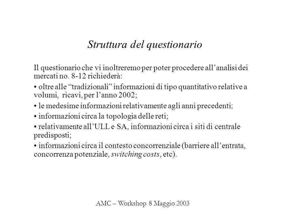 AMC – Workshop 8 Maggio 2003 Il questionario che vi inoltreremo per poter procedere allanalisi dei mercati no.