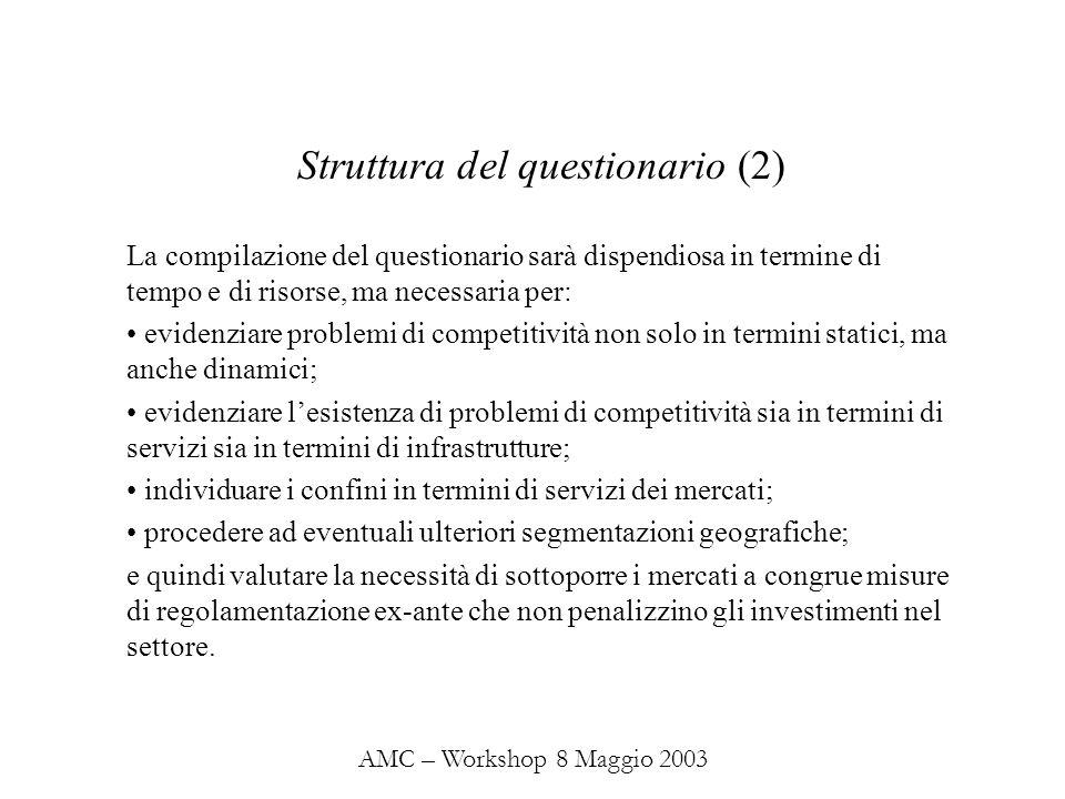 AMC – Workshop 8 Maggio 2003 La compilazione del questionario sarà dispendiosa in termine di tempo e di risorse, ma necessaria per: evidenziare problemi di competitività non solo in termini statici, ma anche dinamici; evidenziare lesistenza di problemi di competitività sia in termini di servizi sia in termini di infrastrutture; individuare i confini in termini di servizi dei mercati; procedere ad eventuali ulteriori segmentazioni geografiche; e quindi valutare la necessità di sottoporre i mercati a congrue misure di regolamentazione ex-ante che non penalizzino gli investimenti nel settore.