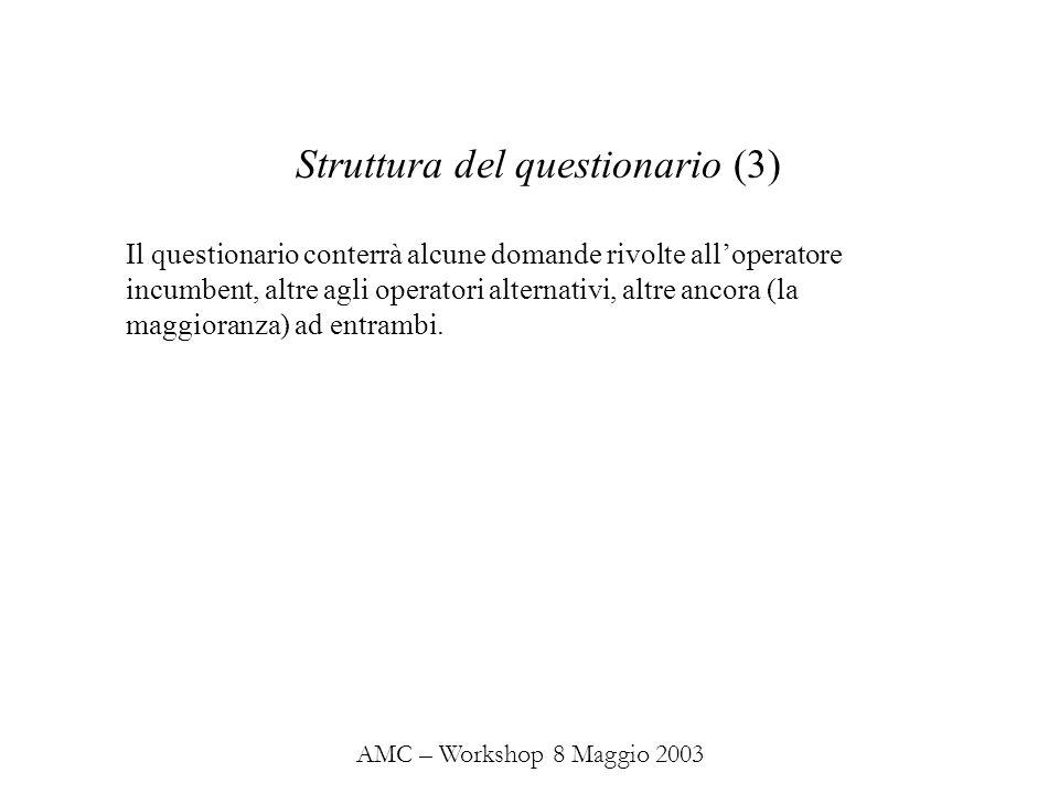 AMC – Workshop 8 Maggio 2003 Il questionario conterrà alcune domande rivolte alloperatore incumbent, altre agli operatori alternativi, altre ancora (la maggioranza) ad entrambi.