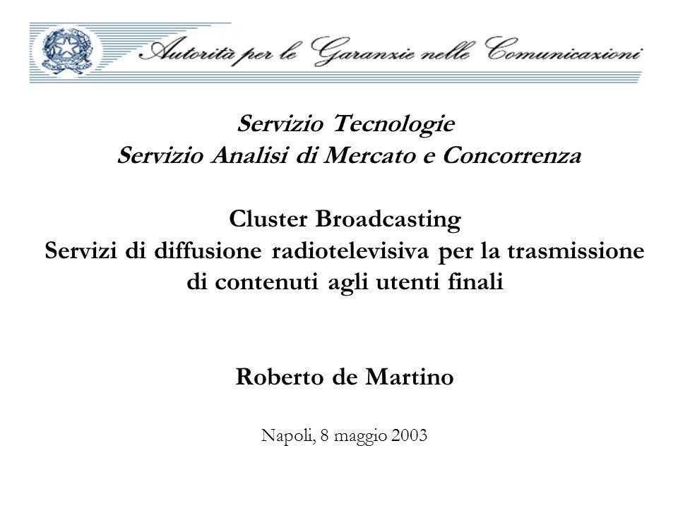 Servizio Tecnologie Servizio Analisi di Mercato e Concorrenza Cluster Broadcasting Servizi di diffusione radiotelevisiva per la trasmissione di conten