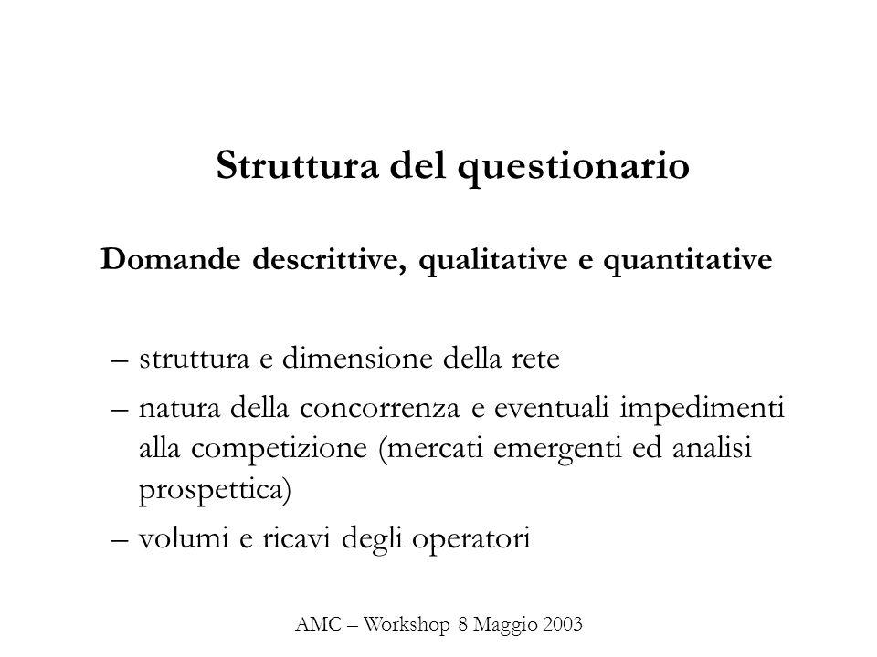 Struttura del questionario Domande descrittive, qualitative e quantitative –struttura e dimensione della rete –natura della concorrenza e eventuali im