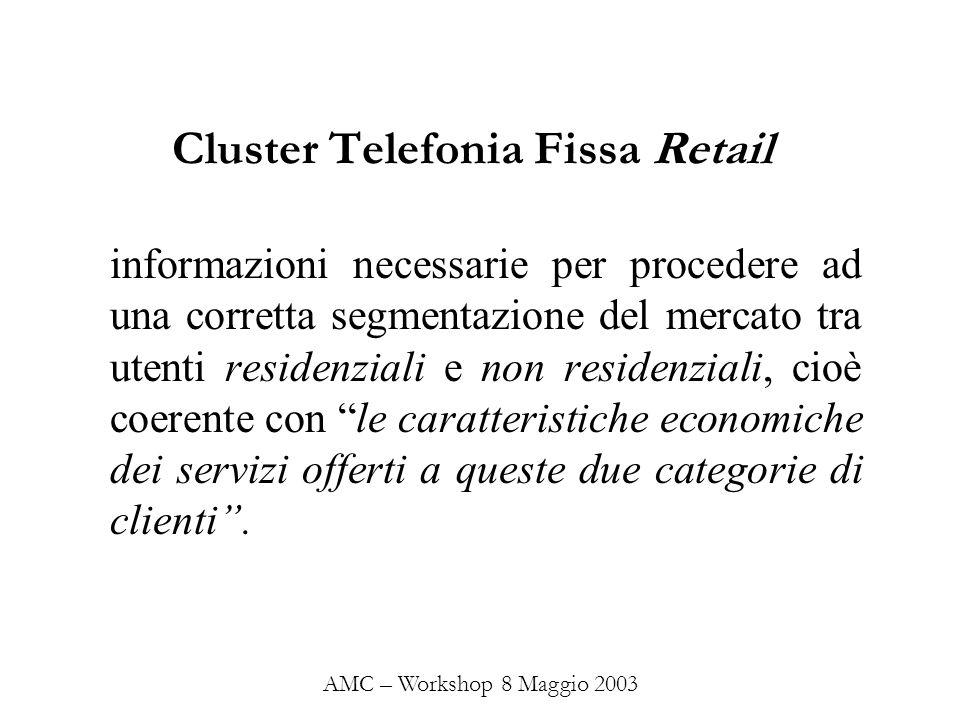 Cluster Telefonia Fissa Retail informazioni necessarie per procedere ad una corretta segmentazione del mercato tra utenti residenziali e non residenzi